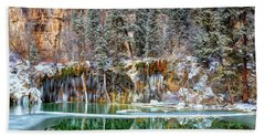 Olena Art Serene Chill Hanging Lake Photograph The Gem Of Glenwood Canyon Colorado Beach Towel