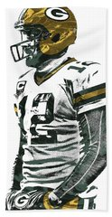 Aaron Rodgers Green Bay Packers Pixel Art 5 Beach Towel by Joe Hamilton