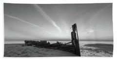 Abandoned Boat Bw Beach Towel
