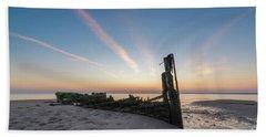Abandoned Boat Sunset  Beach Towel