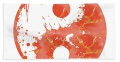 Abstract Yin And Yang Taijitu Symbol Beach Towel
