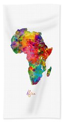 Africa Watercolor Map Beach Towel by Michael Tompsett