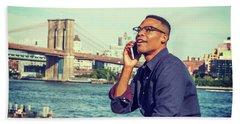 African American Man Traveling In New York Beach Sheet