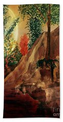 Beach Towel featuring the painting Afternoon At The Creek by Maria Urso