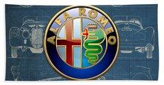 Alfa Romeo 3 D Badge Over 1938 Alfa Romeo 8 C 2900 B Vintage Blueprint Beach Towel