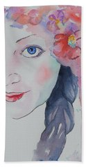Beach Towel featuring the painting Alisha by Mary Haley-Rocks