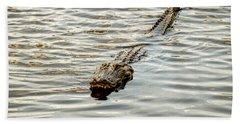 Alligator In Lake Alice Beach Sheet