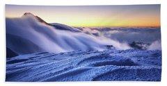 Amazing Foggy Sunset At Mountain Peak In Mala Fatra, Slovakia Beach Towel