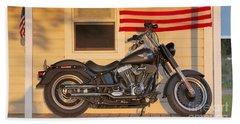 American Pride. Harley Davidson Beach Towel by George Robinson