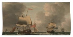 An English Two-decker Lying Hove To, With Other Ships And Vessels In A Fresh Breeze Beach Towel