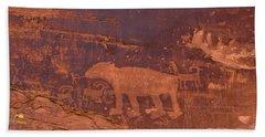 Ancient Native American Petroglyphs On A Canyon Wall Near Moab. Beach Towel