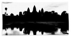 Angkor Wat Black  Beach Towel