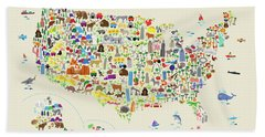 Animal Map Of United States For Children And Kids Beach Towel