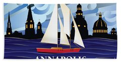 Annapolis Skyline Red Sail Boat Beach Towel