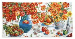 Apples And Oranges Beach Sheet by Alexandra Maria Ethlyn Cheshire