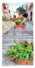Arzachena Staircase And Church Of The Santa Lucia Beach Sheet