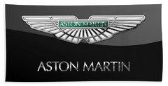 Aston Martin 3 D Badge On Black  Beach Towel