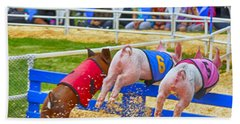 Beach Towel featuring the photograph At The Pig Races by AJ Schibig