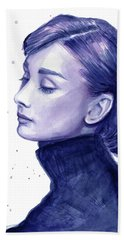 Audrey Hepburn Portrait Beach Sheet by Olga Shvartsur