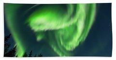 Aurora Borealis In Fairbanks Alaska Beach Towel