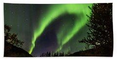 Aurora Borealis, Northern Lights In Denali National Park Beach Towel
