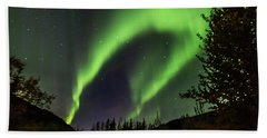 Aurora Borealis, Northern Lights In Denali National Park Beach Sheet
