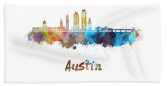 Austin Skyline In Watercolor Beach Sheet by Pablo Romero