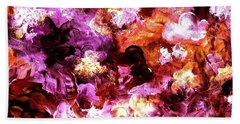 Beach Towel featuring the painting Autumn Floral Abstract Art by Annie Zeno