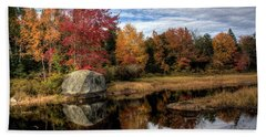 Beach Sheet featuring the photograph Autumn In Maine by Greg DeBeck
