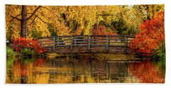 Autumn In The Park Beach Sheet by Teri Virbickis