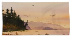 Beach Towel featuring the painting Autumn Shore by James Williamson