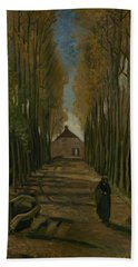 Beach Towel featuring the painting Avenue Of Poplars In Autumn Nuenen, October 1884 Vincent Van Gogh 1853 - 1890 by Artistic Panda