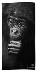 Beach Towel featuring the photograph Baby Bonobo Portrait by Helga Koehrer-Wagner