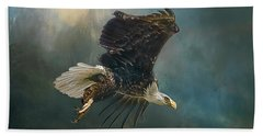 Bald Eagle Swooping Beach Towel