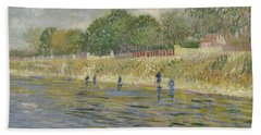 Beach Towel featuring the painting Bank Of The Seine Paris, May - July 1887 Vincent Van Gogh 1853 - 1890 by Artistic Panda