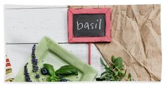 Beach Towel featuring the photograph Basil Still Life #2 by Rebecca Cozart
