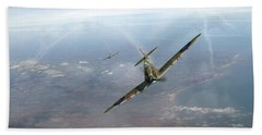 Beach Towel featuring the photograph Battle Of Britain Spitfires Over Kent by Gary Eason