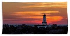 Beach Towel featuring the photograph Beautiful Ludington Lighthouse Sunset by Adam Romanowicz