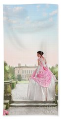 Beautiful Victorian Woman In The Garden Beach Towel