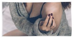 Beautiful Woman On Bed Beach Sheet by Tilen Hrovatic