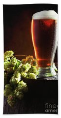 Beer And Hops On Barrel Beach Towel by Amanda Elwell