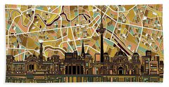 Berlin City Skyline Abstract Beach Towel by Bekim Art