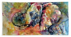 Big Colorful Elephant Beach Towel
