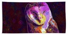 Beach Sheet featuring the digital art Bird Barn Owl Owl Barn Animal  by PixBreak Art