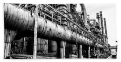 Black And White - Bethlehem Steel Mill Beach Sheet by Bill Cannon