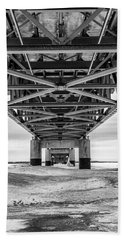 Beach Towel featuring the photograph Black And White Mackinac Bridge Winter by John McGraw
