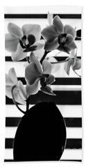Black And White Orchid Beach Towel