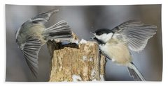 Beach Towel featuring the photograph Black-capped Chickadee In Winter by Mircea Costina Photography