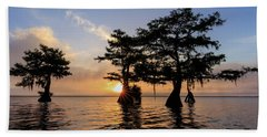 Blue Cypress Lake Morning Beach Towel
