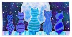 Blue Moon Cats Beach Towel
